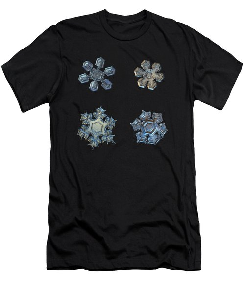 Men's T-Shirt (Athletic Fit) featuring the photograph Four Snowflakes On Black 2 by Alexey Kljatov