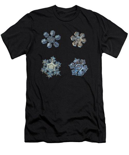 Four Snowflakes On Black 2 Men's T-Shirt (Athletic Fit)