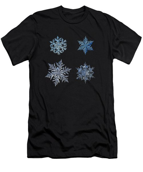 Men's T-Shirt (Athletic Fit) featuring the photograph Four Snowflakes On Black Background by Alexey Kljatov