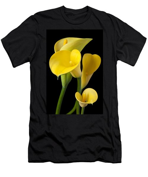 Four Yellow Calla Lilies Men's T-Shirt (Slim Fit) by Garry Gay
