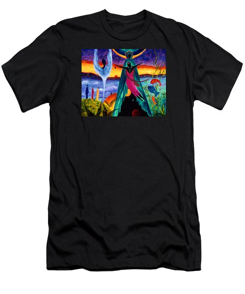 Men's T-Shirt (Slim Fit) featuring the painting Flight by Marina Petro