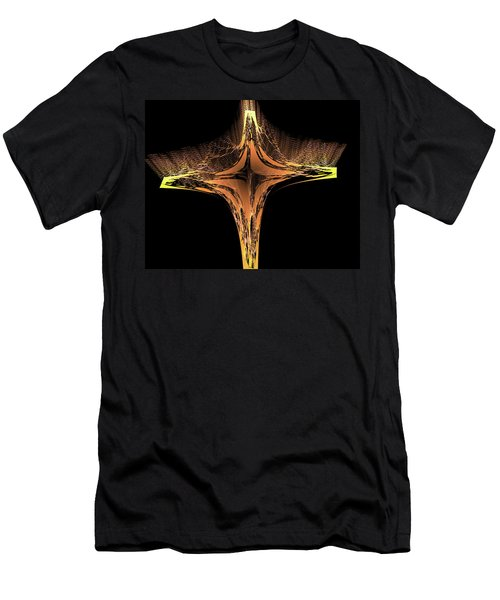 Men's T-Shirt (Athletic Fit) featuring the digital art Fractal Cross Golden And Yellow by Matthias Hauser