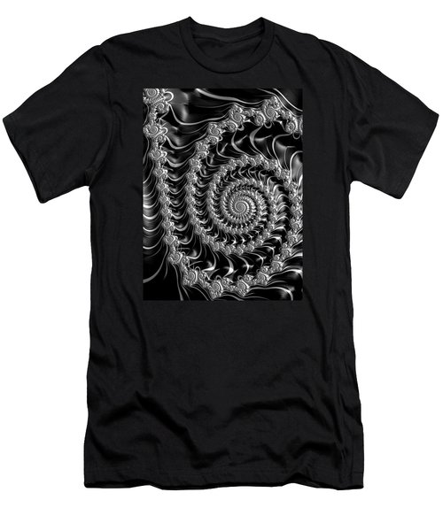 Fractal Spiral Gray Silver Black Steampunk Style Men's T-Shirt (Slim Fit) by Matthias Hauser