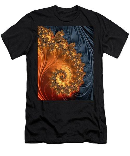 Men's T-Shirt (Athletic Fit) featuring the digital art Fractal Spiral Orange Golden Black by Matthias Hauser