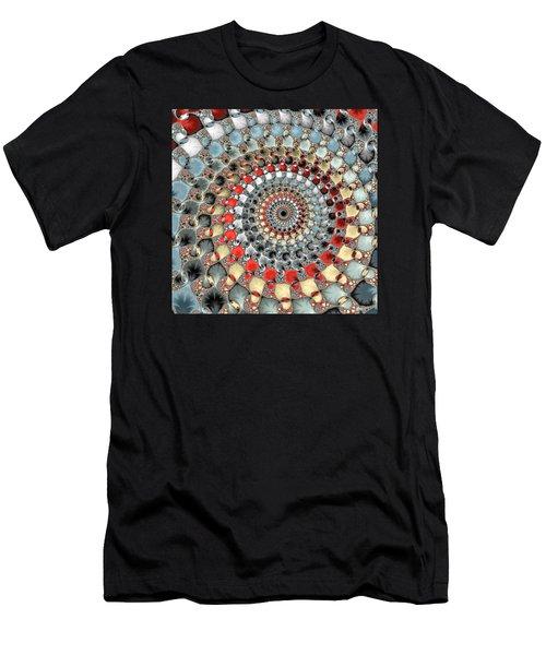 Fractal Spiral Red Grey Light Blue Square Format Men's T-Shirt (Slim Fit) by Matthias Hauser