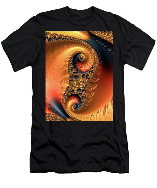 Men's T-Shirt (Athletic Fit) featuring the digital art Fractal Spirals With Warm Colors Orange Coral by Matthias Hauser