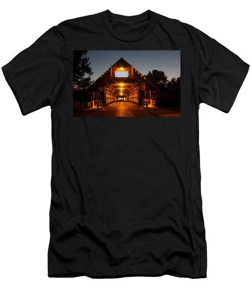 Frankenmuth Covered Bridge Men's T-Shirt (Slim Fit) by Pat Cook