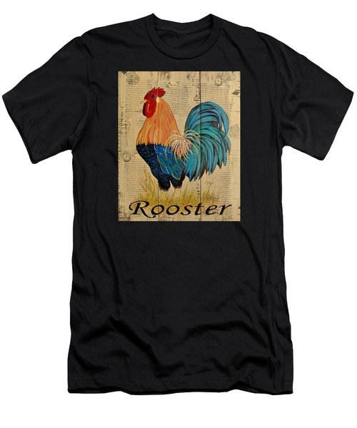French Country Shabby Cottage Rooster Men's T-Shirt (Slim Fit) by Cindy Micklos