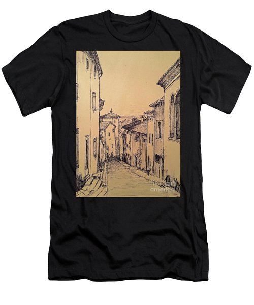 French Little Town Drawing Men's T-Shirt (Athletic Fit)
