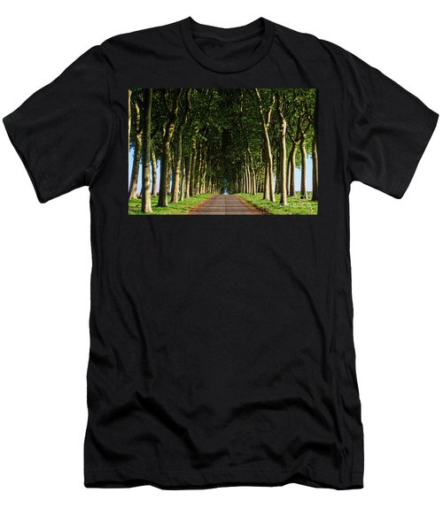 French Tree Lined Country Lane Men's T-Shirt (Athletic Fit)