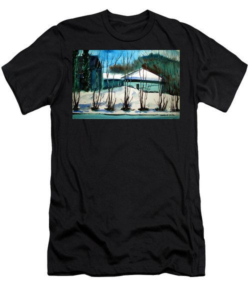 Men's T-Shirt (Slim Fit) featuring the painting Fresh Snow Double Matted by Charlie Spear