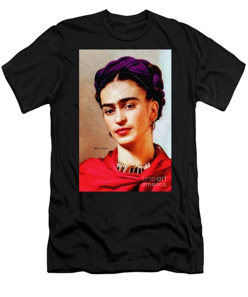 Men's T-Shirt (Athletic Fit) featuring the painting Frida In Red by Rafael Salazar