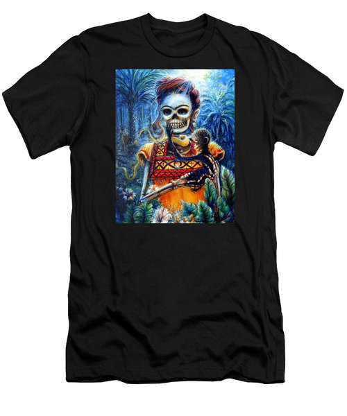 Men's T-Shirt (Slim Fit) featuring the painting Frida In The Moonlight Garden by Heather Calderon