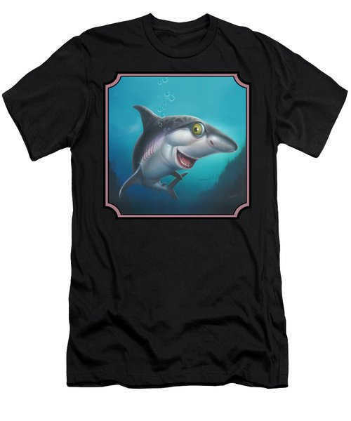 Friendly Shark Cartoony Cartoon - Under Sea - Square Format Men's T-Shirt (Athletic Fit)