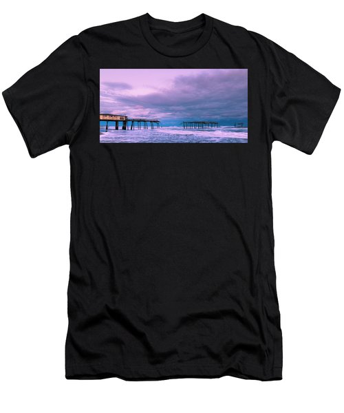 Men's T-Shirt (Athletic Fit) featuring the photograph Frisco Fishing Pier And Clouds Panorama by Ranjay Mitra
