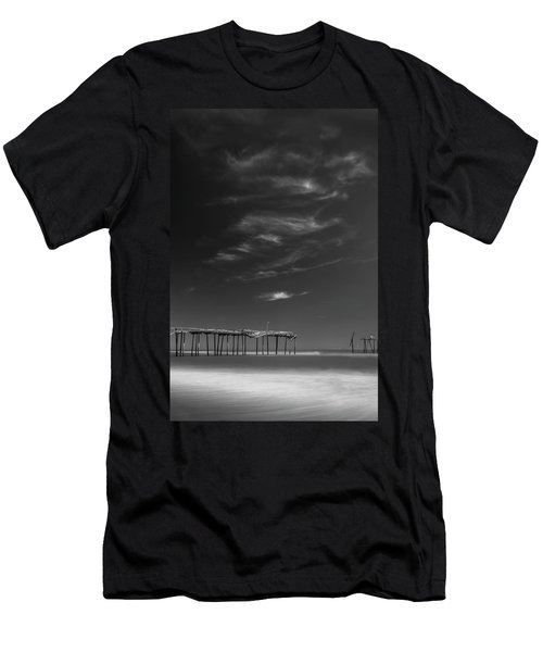 Men's T-Shirt (Athletic Fit) featuring the photograph Frisco Pier In North Carolina And Clouds In Black And White by Ranjay Mitra
