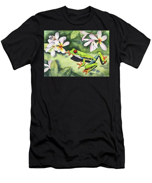 Frog And Plumerias Men's T-Shirt (Athletic Fit)