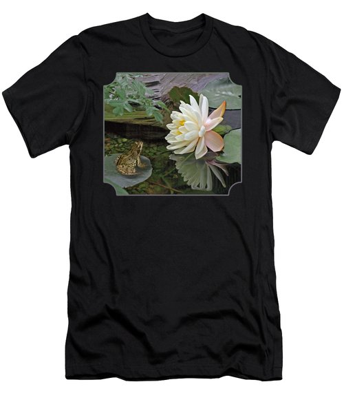 Frog In Awe Of White Water Lily Men's T-Shirt (Athletic Fit)
