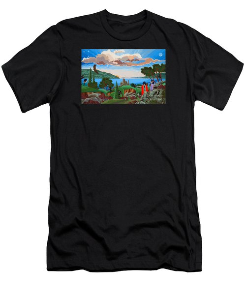 Men's T-Shirt (Athletic Fit) featuring the painting From A High Place, Troubles Remain Small by Chholing Taha