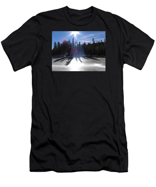 Men's T-Shirt (Athletic Fit) featuring the photograph Sun Reflecting Kiddie Pond Divide Co by Margarethe Binkley
