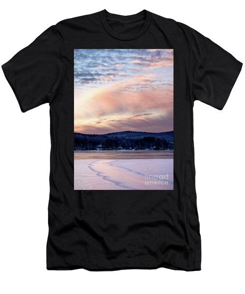 Frozen Lake Sunset In Wilton Maine  -78096-78097 Men's T-Shirt (Athletic Fit)