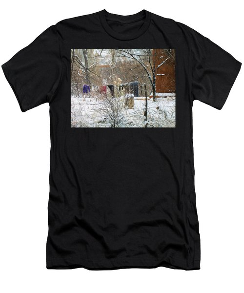 Men's T-Shirt (Athletic Fit) featuring the photograph Frozen Laundry by Lou Novick