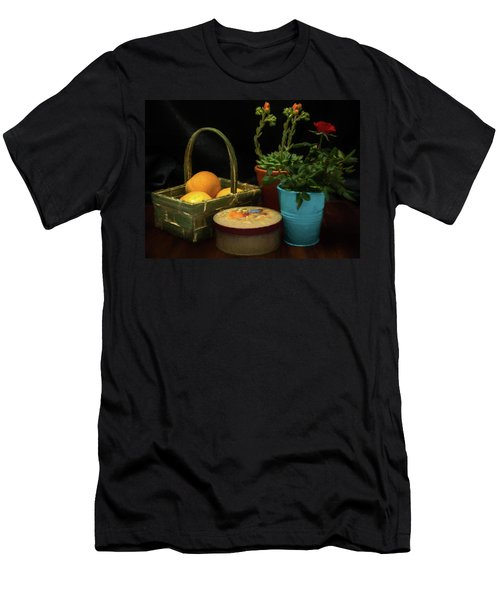 Fruit And Flowers Still Life Digital Painting Men's T-Shirt (Athletic Fit)