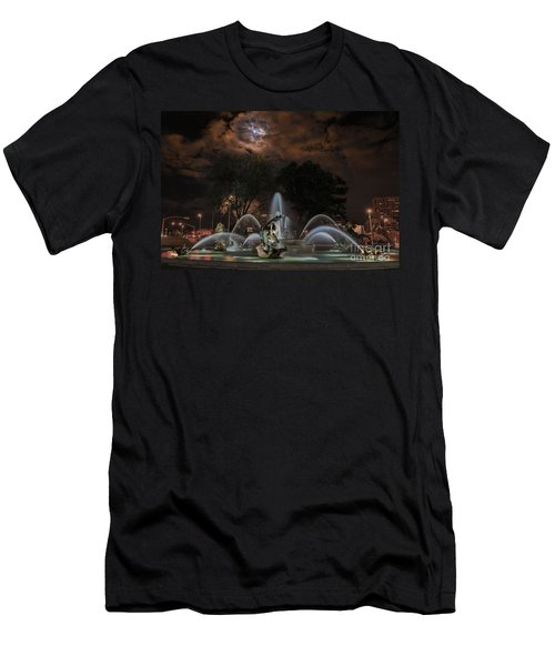 Full Moon At The Fountain Men's T-Shirt (Slim Fit) by Lynn Sprowl