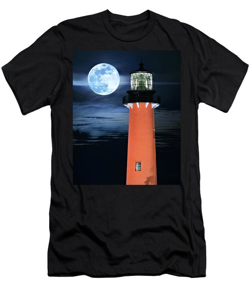 Full Moon Closeup Next To Jupiter Lighthouse In Florida Men's T-Shirt (Athletic Fit)