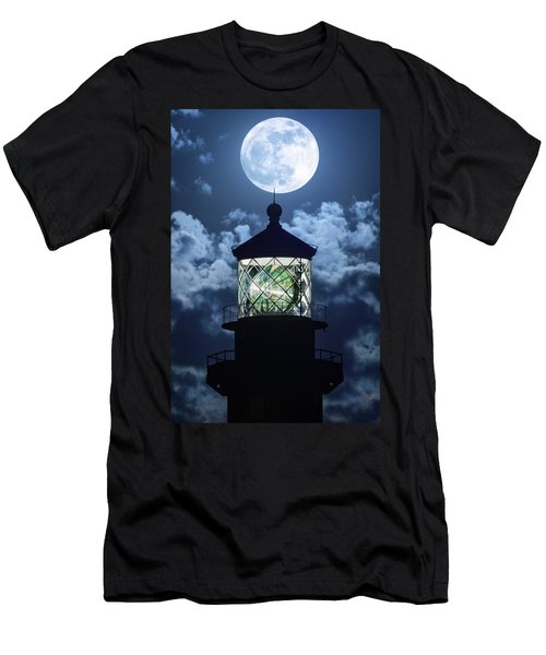 Men's T-Shirt (Slim Fit) featuring the photograph Full Moon Over Hillsboro Lighthouse In Pompano Beach Florida  by Justin Kelefas