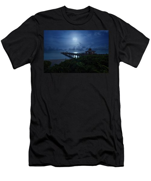 Full Moon Over Juno Beach Pier Men's T-Shirt (Athletic Fit)