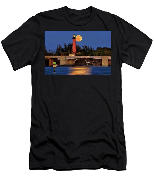 Men's T-Shirt (Slim Fit) featuring the photograph Full Moon Over Jupiter Lighthouse, Florida by Justin Kelefas
