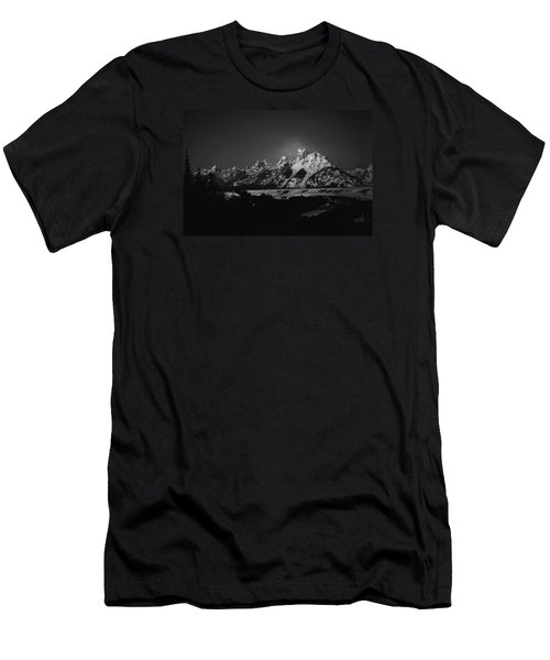 Full Moon Sets In The Tetons Men's T-Shirt (Slim Fit) by Raymond Salani III