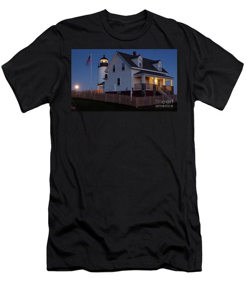 Full Moon Rise At Pemaquid Light, Bristol, Maine -150858 Men's T-Shirt (Athletic Fit)