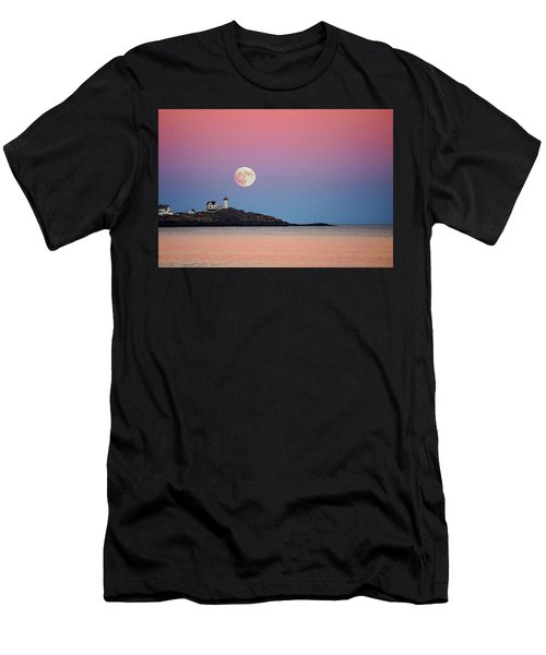 Full Moon Rising At Nubble Light Men's T-Shirt (Athletic Fit)