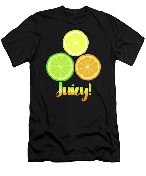 Fun Juicy Orange Lime Lemon Citrus Art Men's T-Shirt (Slim Fit) by Tina Lavoie