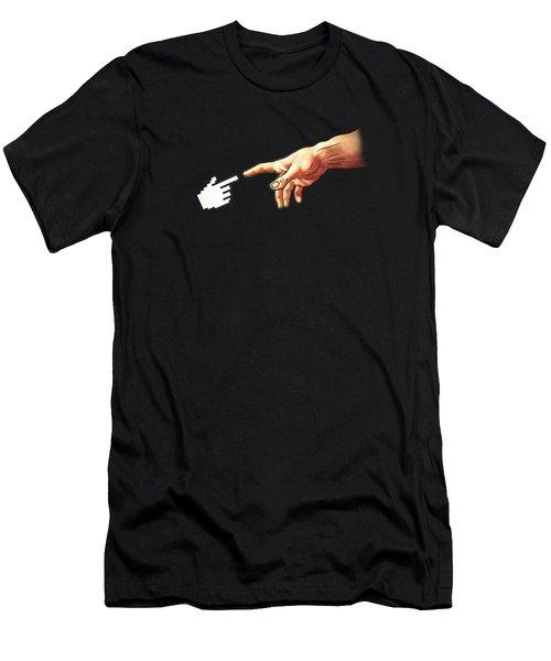 Funny 8bit Nerd And Geek Humor Creation Of Adam Parody Men's T-Shirt (Athletic Fit)