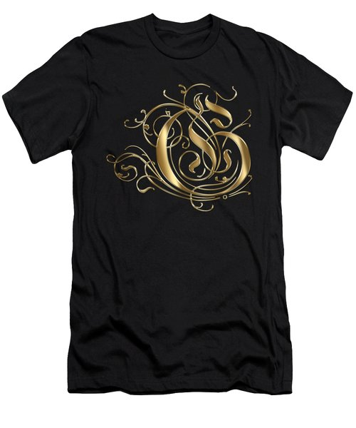 G Ornamental Letter Gold Typography Men's T-Shirt (Athletic Fit)