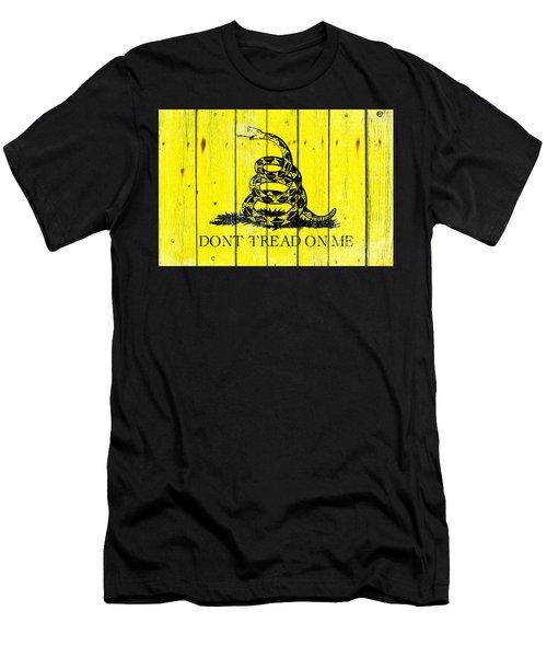Gadsden Flag On Old Wood Planks Men's T-Shirt (Athletic Fit)