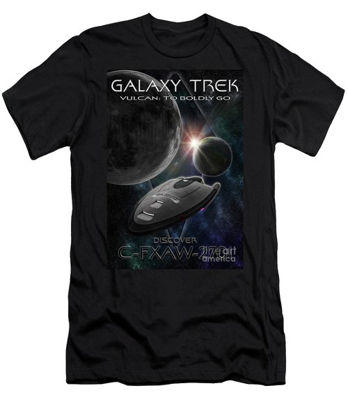 Men's T-Shirt (Athletic Fit) featuring the photograph Galaxy Trek  Vulcan To Boldly Go Poster  Starship by Brad Allen Fine Art