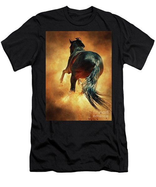Galloping Horse In Fire Dust Men's T-Shirt (Athletic Fit)