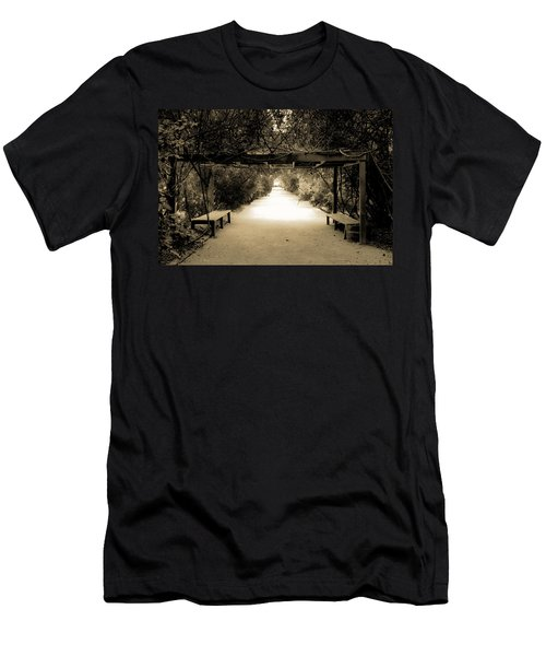 Garden Arbor In Sepia Men's T-Shirt (Slim Fit) by DigiArt Diaries by Vicky B Fuller