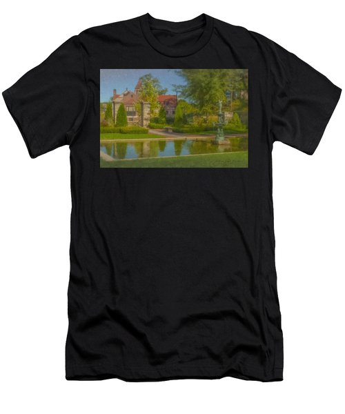 Garden Fountain At Ames Free Library Men's T-Shirt (Athletic Fit)