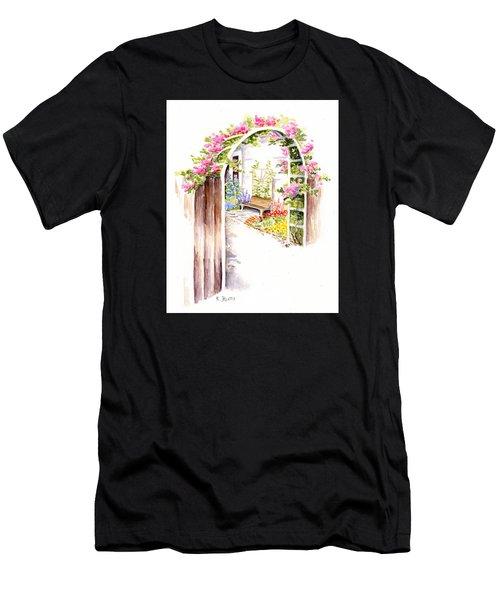 Garden Gate Botanical Landscape Men's T-Shirt (Athletic Fit)
