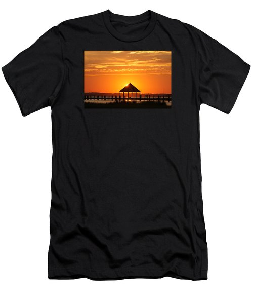 Men's T-Shirt (Slim Fit) featuring the photograph Gazebo Sunset by Robert Banach