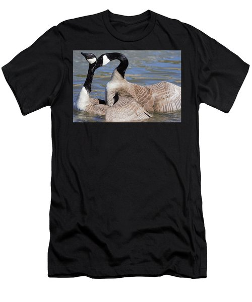 Men's T-Shirt (Athletic Fit) featuring the digital art Geese In Love by Margarethe Binkley