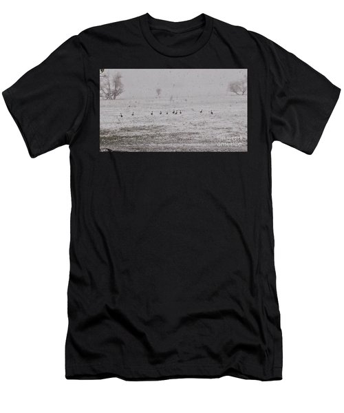 Geese During The Snow Storm Men's T-Shirt (Athletic Fit)
