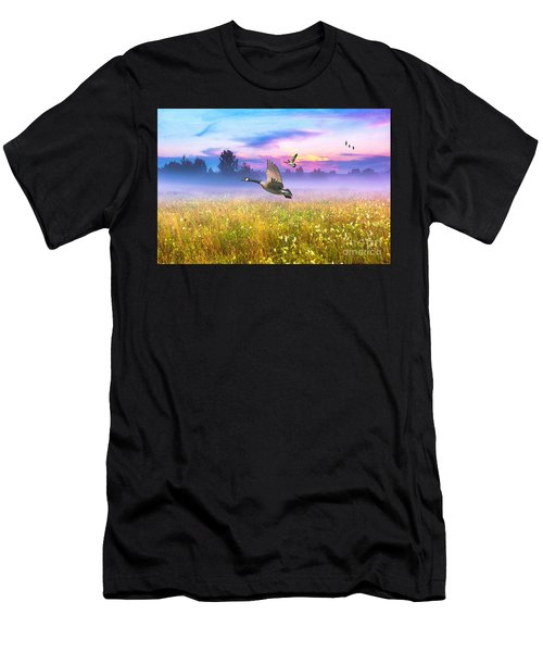Geese In The Mist Men's T-Shirt (Athletic Fit)