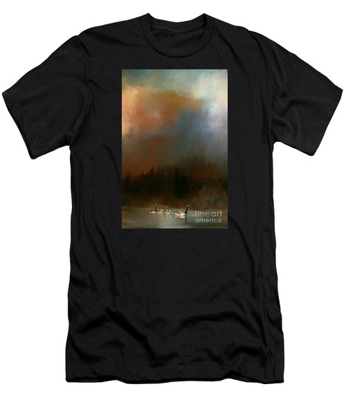 Men's T-Shirt (Slim Fit) featuring the photograph Geese On A Nh Lake by Mim White