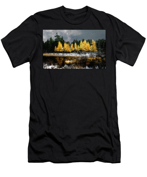 Men's T-Shirt (Athletic Fit) featuring the photograph Geese Over Tamarack by Wayne King
